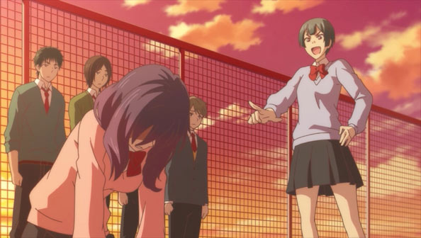 Anime girl on hands and knees