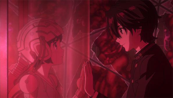 ガラス越しに手を合わせている橘アイコと神崎雄哉の「A.I.C.O.」の画像